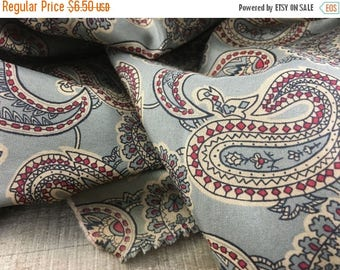 MEMORIAL DAY SALE- Vintage Retro Silky Polyester Fabric-Paisley