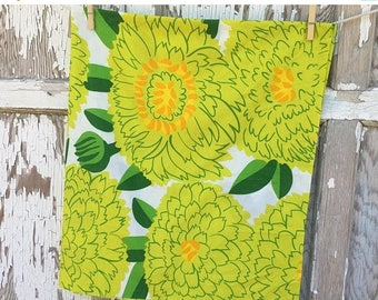 SALE- Reclaimed Floral Fabric-Large Scale Floral Bed Linen Print-Green