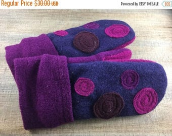 CRAZY SALE- Purple Felted Mittens- Grape Jelly Dots-Upcycled Wool-Teen-Women