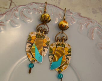 Boho Rhapsody - Vintage Recycled Hand Cut Floral Orange Turquoise Boho Tribal Tin Earrings, Recycled Tin Earrings  - 10th Anniversary Gift