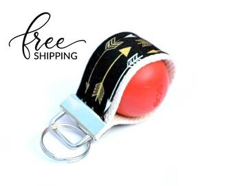 LippyLoop™ EOS Holder Keychain, Black Gold Arrows | Free Shipping