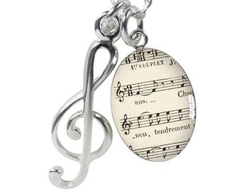 Musical Charm Necklace Sterling Silver – Meniscus Sheet Music Treble Clef Note