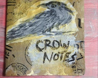 Crow Notes- Mini Notebook collaged cover