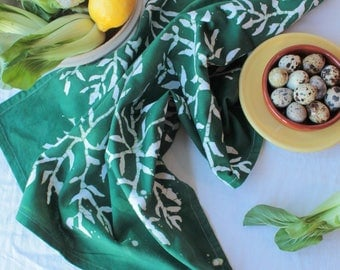 cotton tea towel printed with bamboo