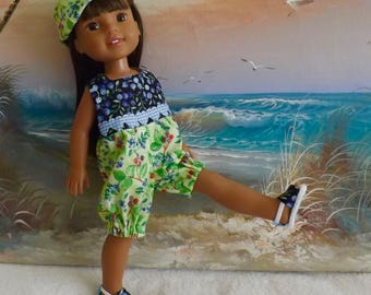 """14 and 14.5"""" Doll Summer Blueberry Medley Rompers With Reversible Hat Fits Dolls like H4H and Wellie Wishers"""
