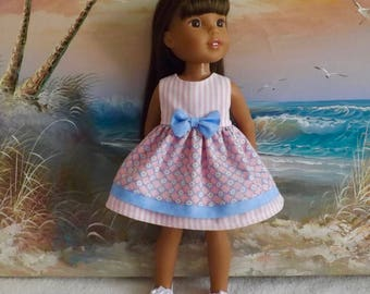 14 and 14.5 Inch Doll Clothes Dress NEW Design Pastel Pink and Blue Medley Layered Medley Fits dolls like H4H and Wellie Wishers