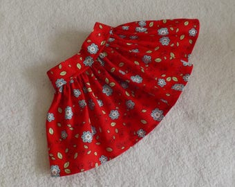 18 Inch Doll Will Fit American Girl Clothes Skirt Red With Blue and White Flowers Very Fully Gathered 50s Style Skirt will Fit AG