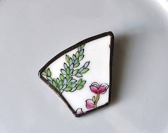 VALENTINE SALE Broken China Brooch - Pink and Green