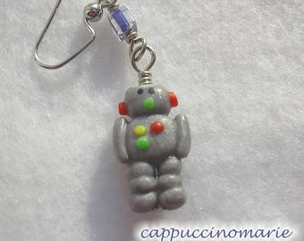Robot Friends - One At A Time - Polymer clay dangle earrings