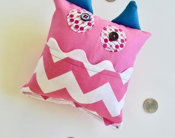 Monster Tooth Fairy Pillow- Girls Tooth Pillow - Pink White Chevron Pillow - Lost Tooth Pillow - Tooth Pillow - Pink Tooth Pillow