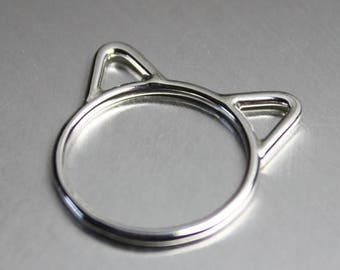 ON SALE TODAY Sterling Silver Cat Ring with Ears