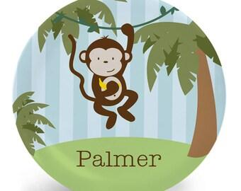 Personalized Monkey Plate - Jungle Monkey Melamine Plate, Bowl, Mug, Placemat or set custom made with child's name