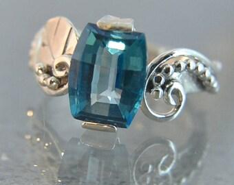 Flourish - Teal Topaz gemstone ring