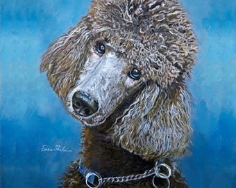 Custom Pet Portraits , Dog Portraits, Poodle Dog Oil Portraits on Canvas or as Canvas Prints