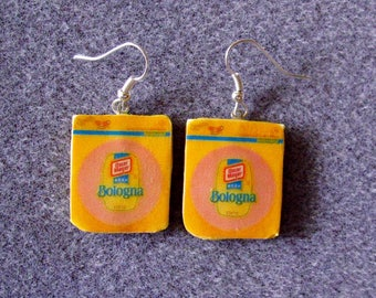 Oscar Mayer Bologna Retro Kitsch Dangle Polymer Clay Junk Food Earrings Hypo Allergenic Nickle-Free