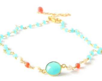 SALE Aqua Chalcedony Pearl Coral Choker Necklace