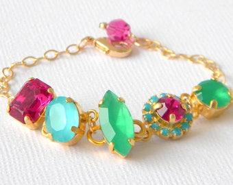 Fuschia Pink, Aqua, Emerald Crystal Tennis Bracelet