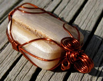 Wire Wrapped River Stone Artisan Pendant