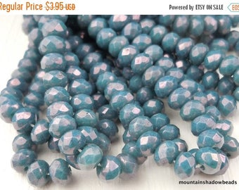 20% Summer SALE 3x5mm Turquoise Bronze Picasso Czech Glass Beads  Faceted Rondelle Czech Glass Beads