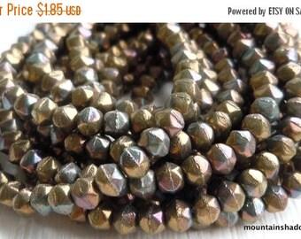 20% Summer SALE 3mm English Cut Beads - Oxidized Bronze Clay - Czech Glass Beads - 50 pcs (SP - 3)