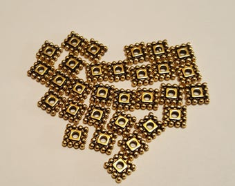 Square Spacers - 7mm Spacers - Gold Spacers - Gold Square Spacer - Antiqued Gold- 50 pcs. - Lead Free - Cadmium Free