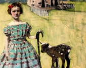 Rural girl with goat,duck and ducklings original large painting