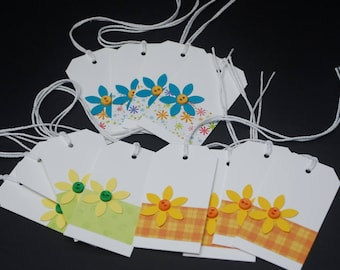Flowers and Patterns, floral gift tags, set of 12, scrapbook embellishment, hang tag, label, gift tags with flowers and buttons