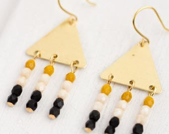 Black Bead Triangle Chandeliers, Triangle Chandeliers, Gold triangle Earrings, Beaded Geometric Earrings, Triangle, Long Triangle Earrings