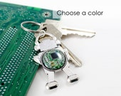 Robot Keychain Circuit Board, Robot Key Fob, Geeky Key Chain, Robotics Gift, Engineer Keychain, Cyber Punk, Engineer Gift, STEM Gift