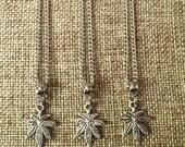 SUMMER SALE Marijuana Leaf Necklace / Pot Leaf Necklace / Weed Leaf Necklace / Marijuana Jewelry / Stoner Jewelry / Mens Marijuana Leaf Neck