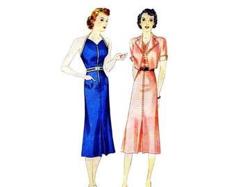 SALE 1930s Misses Sun-Back Halter Dress and Jacket Simplicity 2659 Vintage Sewing Pattern Size 14 Bust 32 UNCUT