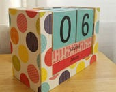 Wooden Perpetual Block Calendar, Month and Day Desk Calendar, Tutti Fruity Colorful Confetti, Bright Polka Dots, Teacher Gift, Ready to Ship