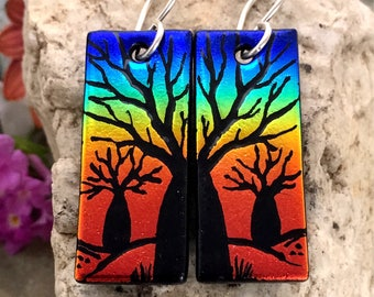 Boab Tree Earrings Handetched Dichroic Glass & Sterling Silver