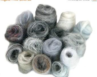 KIT SALE Grey Fiber kit, Sampler, wool, Gray firestar, glitz, Needle Wet Felting Spinning, monochromatic palette, mini batt, Silver grey rov
