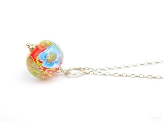 Art Glass Pendant - Medium Poppy Sakura Art Glass Bead Sterling Silver Pendant - Classic Collection