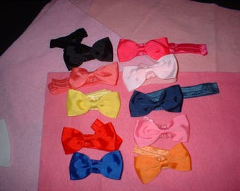 2 1/2  inch  Hair Bows on Elastic head bands 3C total of 10