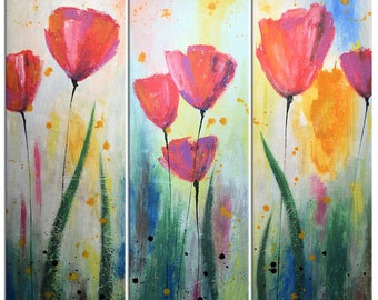 Extra large wall art / Abstract Floral Flowers Garden Painting Original Large Modern Art Wall Decor / Amy Giacomelli / Large paintings