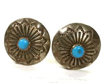 50s Navajo Sterling & Turquoise Earrings Vintage Fred Harvey Era Native American Silver Button Clip On Earrings Southwest Boho Tribal Hippie