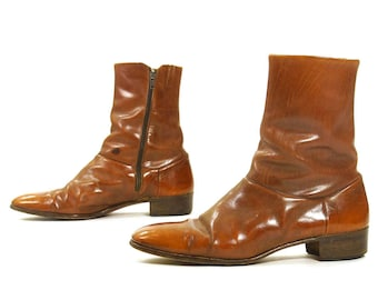 70s Italian Leather Beatle Boots / Vintage Brown Ankle Boots Shortie Zip Up Mod Hipster Pee Wee Chelsea Dress Boots / Men's 8.5 / Women's 10