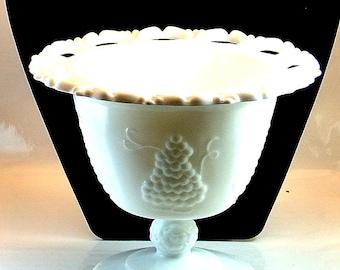 Milk Glass Pedestal Grape Design with Scallop Edge Open Lace Bowl Vintage Milk Glass Footed Compote Grape Pattern White Milk Glass