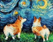 Corgi Art - Starry Night Art Print dog art by Aja 2 different paper types and 8x8, 10x10, 12x12, 20x20, and 24x24 inches choose size