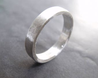 Solid silver ring with flat profile 4 mm - silver ring 925 - matt brushed silver, handmade wedding