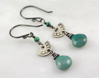 Stamped Silver Chrysocolla and Turquoise Earrings