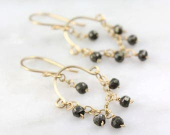 Pyrite and Gold Swing Mini Chandlelier Earrings