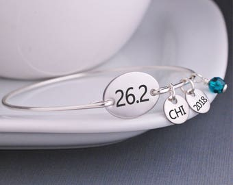 Marathon Bracelet, Custom Marathon Jewelry, 26.2 Bangle Bracelet, Simple Athletic Jewelry, Gift For Runner