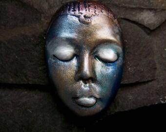 Metallic Nubian Goddess Face Cab handmade polymer clay Cabochon