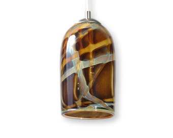 Amber Milky Way Hand Blown Glass Ceiling Pendant Light Contemporary Modern Interior Lighting Made in Rhode Island, USA
