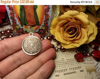 SALE TODAY Vintage Estate Sterling Silver Mayan Aztec Calendar Pendant Mexican Mexico Tribal Jewelry Charm