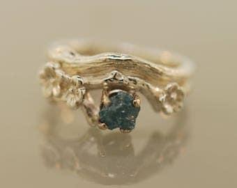 Silver blossom bud branch ring set,wedding ring, Twig ring, cherry blossom ring, silver twig ring