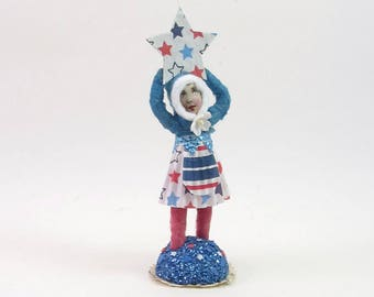 READY TO SHIP Vintage Inspired Spun Cotton Party Girl Fourth Of July Figure Ooak